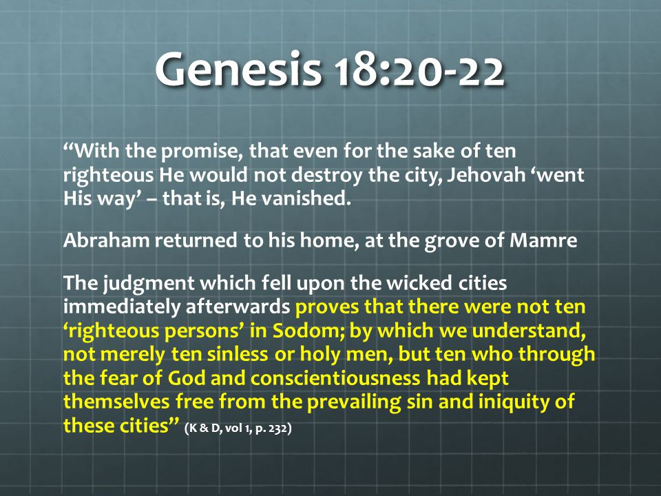 Genesis 18:23-26 Abraham intercedes for the cities of the Plain