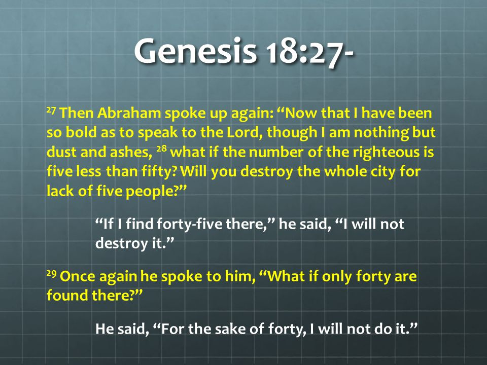 Genesis 18:23-33 30 Then he said, May the Lord not be angry, but let me speak.