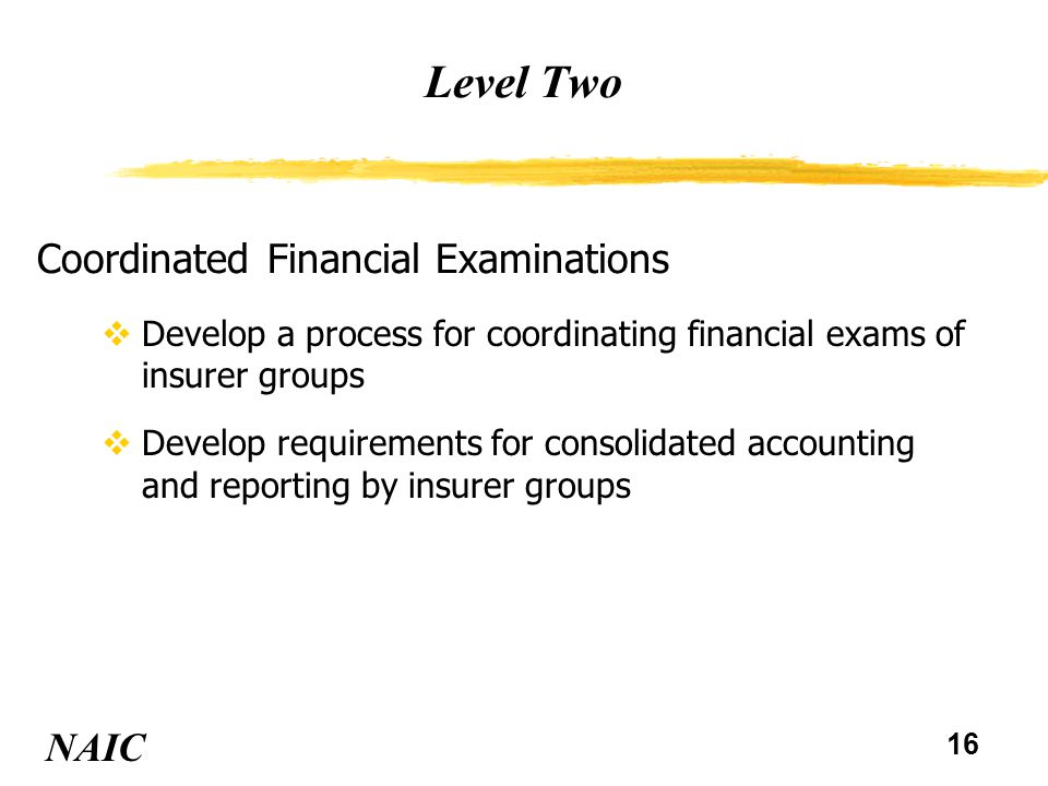 17 Level Two NAIC Consolidated Financial Analysis vNAIC Financial Analysis & Reporting Division to coordinate analysis of GAAP information, SEC filings, and Federal Reserve information on Financial Holding Companies vStates to coordinate consolidated statutory analysis of insurance only groups Develop a process for consolidated financial analysis of insurer groups