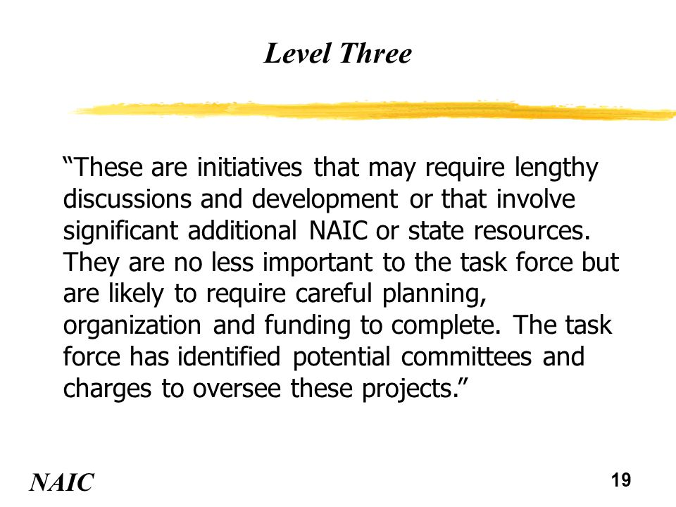 20 Level Three NAIC Accreditation Standards and Guidelines vConsider adopting a review team guideline requiring that significant elements of Part A standards are reviewed during the financial analysis and financial examination processes vConsider revisions to accreditation scoring including both the weighting of scores and the review team guidelines for scoring