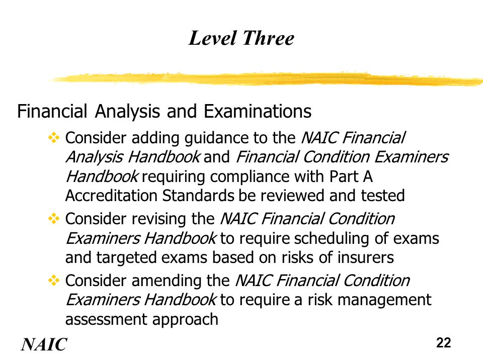 23 Level Three NAIC Anti-Fraud vDevelop alternatives for providing resources and expertise to state insurance departments for fraud investigation vObtain insurance regulators' access to NCIC for licensing and investigation purposes vDevelop a structure for sharing information between insurance fraud investigations and prosecution authorities