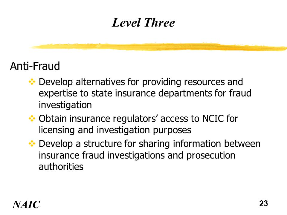 24 Level Three NAIC Model Laws and Regulations vConsider amendments to the Assumptions Model Act and the Disclosure of Material Transactions Model Act to increase prior approval of significant reinsurance transactions NAIC Troubled Companies Handbook vConsider improvements to the NAIC Troubled Companies Handbook regarding potential causes of solvency problems For status of the Task Force's recommendations, see Handout #2.