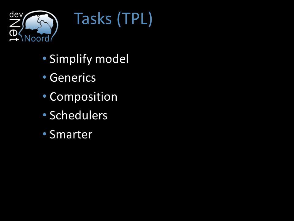Tasks (TPL) Tasks TaskFactory Parallel.Invoke Parallel.For Parallel.ForEach BlockingCollection ConcurentBag ConcurrentDictionary ConcurrentStack ConcurrentQueue
