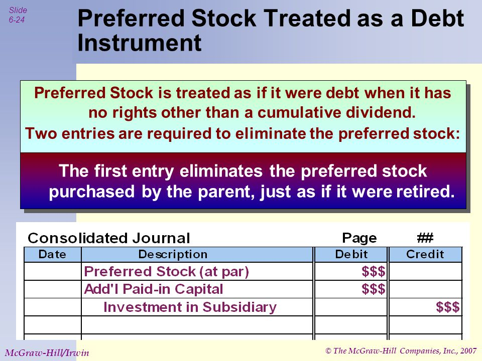 © The McGraw-Hill Companies, Inc., 2007 Slide 6-25 McGraw-Hill/Irwin Preferred Stock Treated as a Debt Instrument Preferred Stock is treated as if it were debt when it has no rights other than a cumulative dividend.