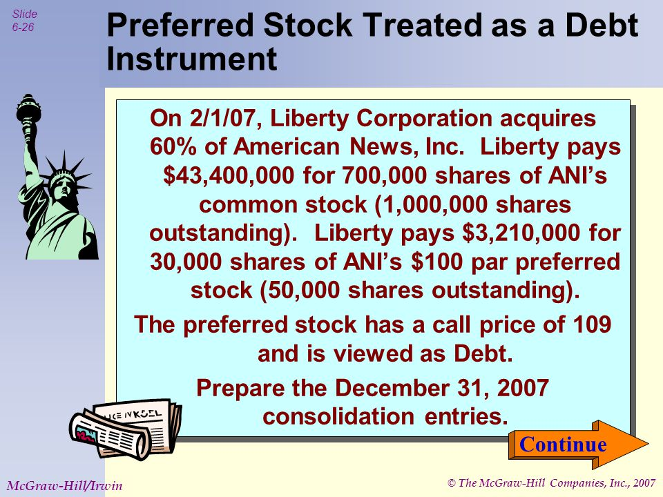 © The McGraw-Hill Companies, Inc., 2007 Slide 6-27 McGraw-Hill/Irwin Preferred Stock Treated as a Debt Instrument First Entry Eliminate Liberty's investment in the preferred stock.