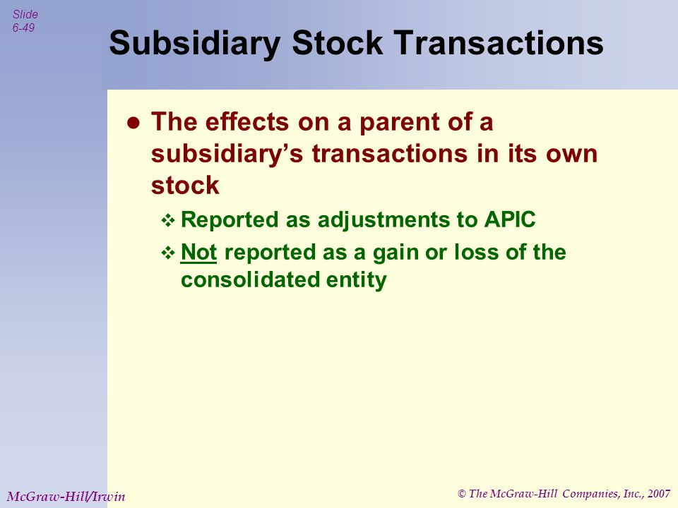 © The McGraw-Hill Companies, Inc., 2007 Slide 6-50 McGraw-Hill/Irwin Summary Variable Interest Entities are created to fulfill special purposes.