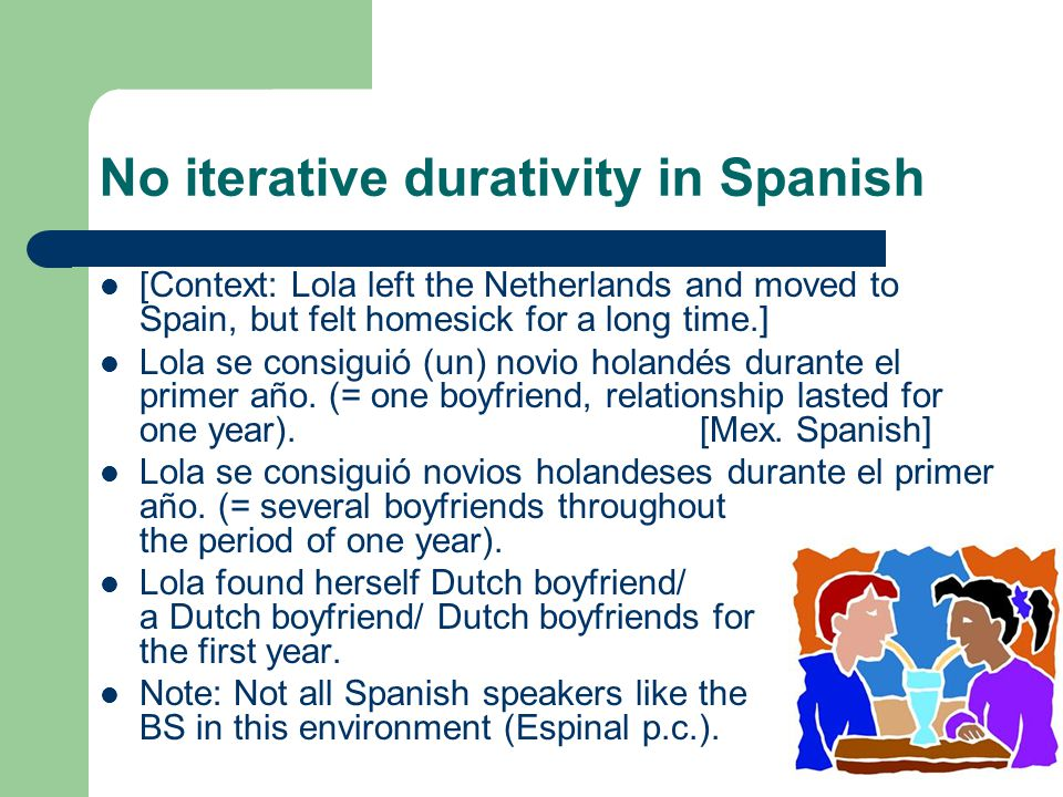 No iterative durativity in Catalan En Joan va trobar *puça / puces en el gos det Joan past find flea/ fleas in the dog durant una setmana for a week Espinal (p.c.) 'Joan found fleas on his dog for a week.' *Els nuvis han comprat anell the bride and groom have bought ring els uns als altres the ones to.the others.