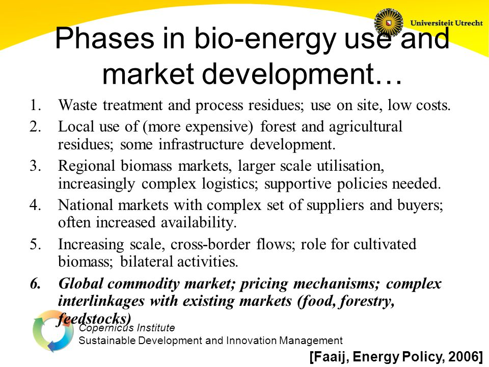 Copernicus Institute Sustainable Development and Innovation Management 2050 Bioenergy Potentials & Deployment Levels 2008 Global Energy Total Chapter 2 Possible Deployment Levels 2011 IPCC Review* Land Use 3 and 5 million km 2 Chapter 10 Modelled Deployment Levels for CO2 Concentration Targets Past Literature Range of Technical Potentials 0-1500 EJ Global Primary Energy Supply, EJ/y 2008 Global Biomass Energy 2050 Global Energy AR4, 2007 2050 Global Biomass AR4, 2007 <440 ppm 440- 600 ppm Technical Potential 2050 Projections Minimum median 75 th Maximum 100 300 150 190 80 265 300 Technical Potential Based on 2008 Model and Literature Assessment 118 20 25 25 th Percentile 2000 Total Biomass Harvest for Food/Fodder/Fiber as Energy Content [IPCC-SRREN, 2011]