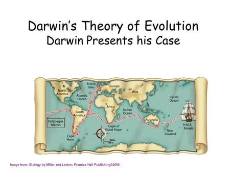 Darwin's Theory of Evolution Darwin Presents his Case Image from: Biology by Miller and Levine; Prentice Hall Publishing©2006.