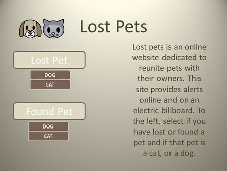Lost Pets Lost pets is an online website dedicated to reunite pets with their owners. This site provides alerts online and on an electric billboard. To.