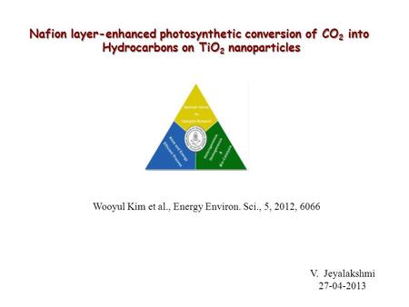Nafion layer-enhanced photosynthetic conversion of CO 2 into Hydrocarbons on TiO 2 nanoparticles Wooyul Kim et al., Energy Environ. Sci., 5, 2012, 6066.