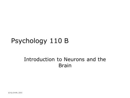 © Kip Smith, 2003 Psychology 110 B Introduction to Neurons and the Brain.