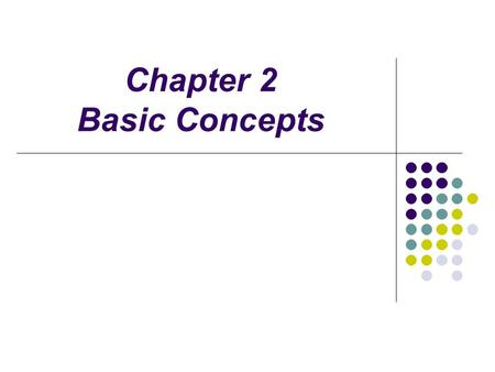 Chapter 2 Basic Concepts. 2 Chapter 2 Basic Information Major Points Scales of measurement Scales of measurement Variables Variables Random sampling Random.