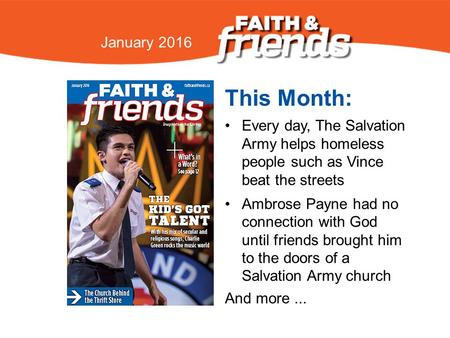 April 2010 This Month: Every day, The Salvation Army helps homeless people such as Vince beat the streets Ambrose Payne had no connection with God until.