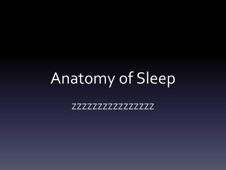 Anatomy of Sleep ZZZZZZZZZZZZZZZZ. Did you know…..? The body rests during sleep. The brain remains active.