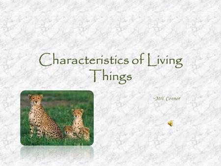 Characteristics of Living Things ~Mrs. Connor. Six Characteristics of Living Things 1.Have one or more cells 2.Have DNA 3.It grows and develops 4.Has.