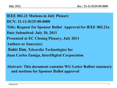 Doc.: 21-11-0129-00-0000 Submission1 IEEE 802.21 Motions in July Plenary DCN: 21-11-0129-00-0000 Title: Request for Sponsor Ballot Approval for IEEE 802.21a.