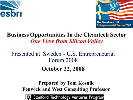 Business Opportunities In the Cleantech Sector One View from Silicon Valley Presented at Sweden - U.S. Entrepreneurial Forum 2008 October 22, 2008 Prepared.