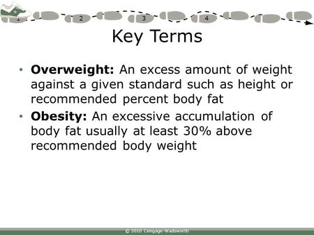 © 2010 Cengage-Wadsworth 1234 Key Terms Overweight: An excess amount of weight against a given standard such as height or recommended percent body fat.