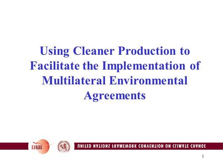 1 Using Cleaner Production to Facilitate the Implementation of Multilateral Environmental Agreements.