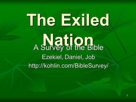 1 The Exiled Nation A Survey of the Bible Ezekiel, Daniel, Job