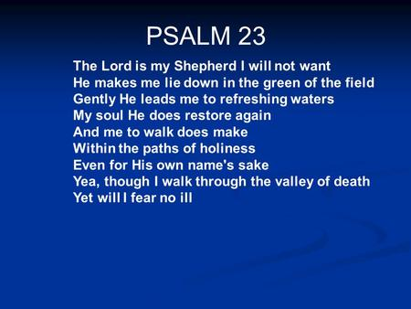 PSALM 23 The Lord is my Shepherd I will not want He makes me lie down in the green of the field Gently He leads me to refreshing waters My soul He does.