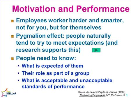 1 Employees worker harder and smarter, not for you, but for themselves Pygmalion effect: people naturally tend to try to meet expectations (and research.