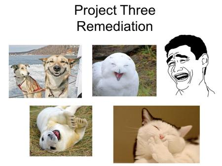 Project Three Remediation. Here is the Project Description from Project Three: *Students will produce a remediation that retains the same purpose/claim.