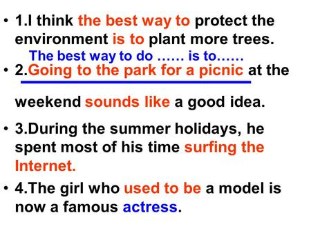 1.I think the best way to protect the environment is to plant more trees. 2.Going to the park for a picnic at the weekend sounds like a good idea. 3.During.