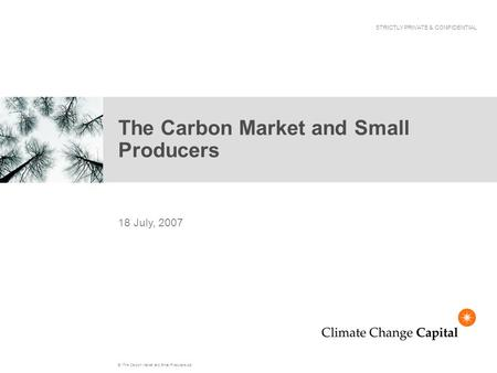 E:\The Carbon Market and Small Producers.ppt The Carbon Market and Small Producers 18 July, 2007 STRICTLY PRIVATE & CONFIDENTIAL.