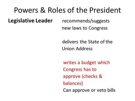Powers & Roles of the President Legislative Leader recommends/suggests new laws to Congress delivers the State of the Union Address writes a budget which.