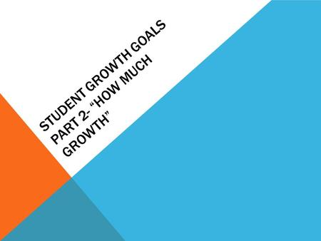 "STUDENT GROWTH GOALS PART 2- ""HOW MUCH GROWTH"". LAST WEEK Who: 8.1- the 9 th grade team 6.1- the 9 th grade class 3.1 –the Special Eduction/ELL/LAP students."