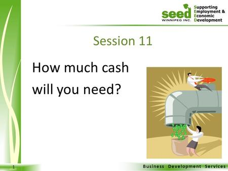 Business Development Services 1 How much cash will you need? Session 11.