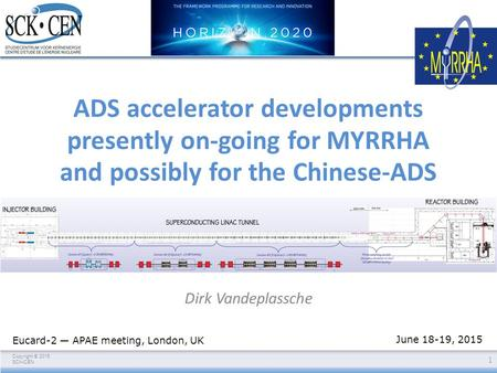 Copyright © 2015 SCKCEN ADS accelerator developments presently on-going for MYRRHA and possibly for the Chinese-ADS Dirk Vandeplassche 1 Eucard-2 — APAE.