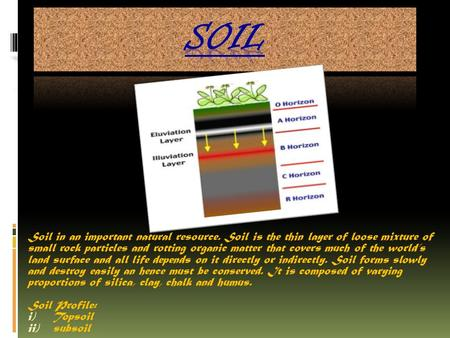 Soil in an important natural resource. Soil is the thin layer of loose mixture of small rock particles and rotting organic matter that covers much of.