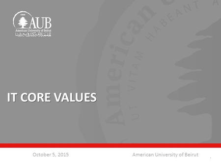 October 5, 2015American University of Beirut IT CORE VALUES 1.