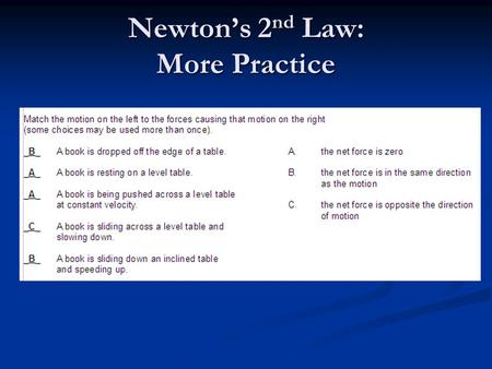 Newton's 2 nd Law: More Practice. Newton's 3 rd Law SPH4C.