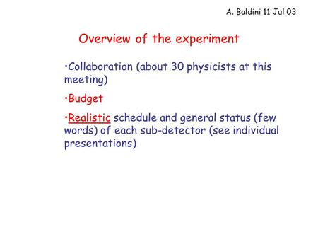 Overview of the experiment Collaboration (about 30 physicists at this meeting) Budget Realistic schedule and general status (few words) of each sub-detector.