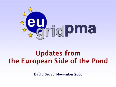 Updates from the European Side of the Pond David Groep, November 2006.