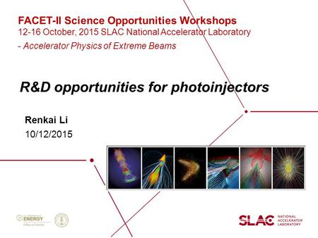 R&D opportunities for photoinjectors Renkai Li 10/12/2015 FACET-II Science Opportunities Workshops 12-16 October, 2015 SLAC National Accelerator Laboratory.
