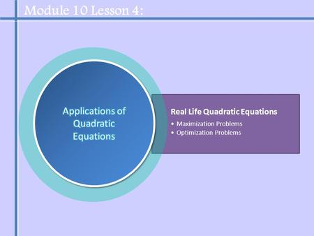 Real Life Quadratic Equations Maximization Problems Optimization Problems Module 10 Lesson 4: