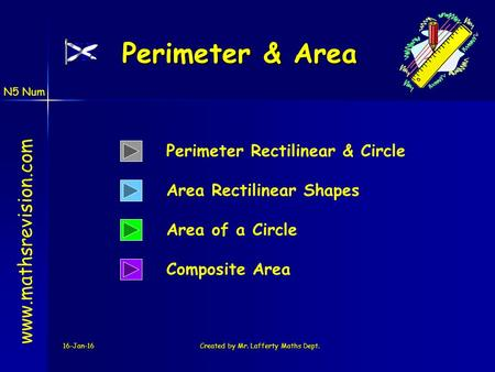 N5 Num 16-Jan-16Created by Mr. Lafferty Maths Dept. Area of a Circle Perimeter & Area www.mathsrevision.com Perimeter Rectilinear & Circle Area Rectilinear.
