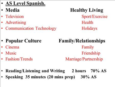 AS Level Spanish. MediaHealthy Living TelevisionSport/Exercise AdvertisingHealth Communication TechnologyHolidays Popular CultureFamily/Relationships CinemaFamily.