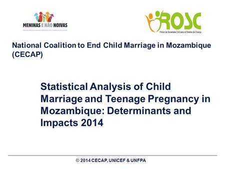 National Coalition to End Child Marriage in Mozambique (CECAP) Statistical Analysis of Child Marriage and Teenage Pregnancy in Mozambique: Determinants.