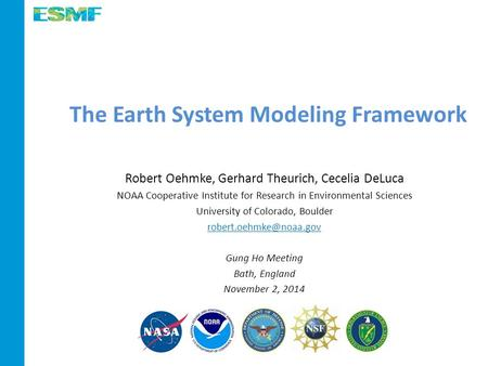 The Earth System Modeling Framework Robert Oehmke, Gerhard Theurich, Cecelia DeLuca NOAA Cooperative Institute for Research in Environmental Sciences University.