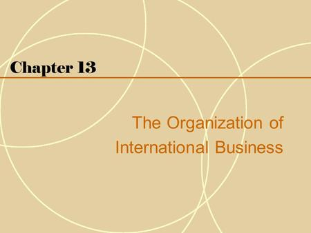 Chapter 13 The Organization of International Business.