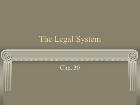 The Legal System Chp. 30. Structure of the Legal System Trial Court – the first court to hear a case Appellate Court – has the authority to review the.