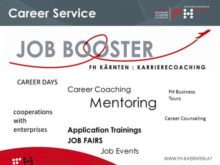 WWW.FH-KAERNTEN.AT Career Service Career Coaching Mentoring Application Trainings JOB FAIRS Job Events FH Business Tours Career Counseling cooperations.