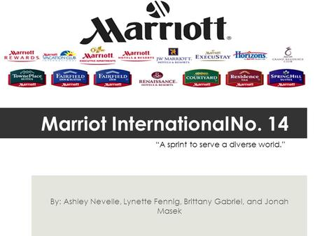 "Marriot InternationalNo. 14 By: Ashley Nevelle, Lynette Fennig, Brittany Gabriel, and Jonah Masek ""A sprint to serve a diverse world."""