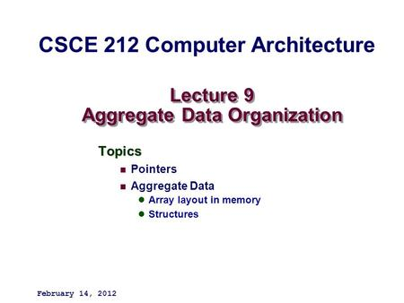 Lecture 9 Aggregate Data Organization Topics Pointers Aggregate Data Array layout in memory Structures February 14, 2012 CSCE 212 Computer Architecture.